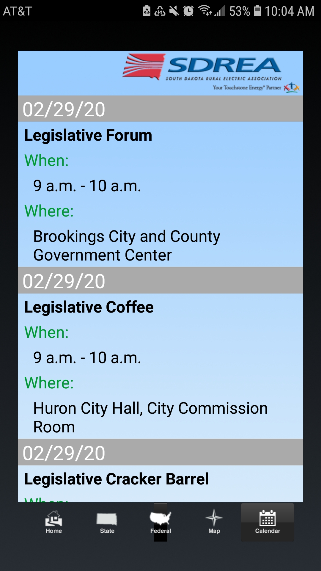 Picture of Legislative Mobile App calendar feature